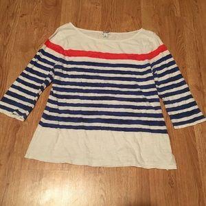 Old Navy orange and blue stripe 3/4 sleeve tee